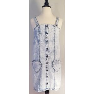 Hot Topic Denim Pinafore Overall Heart Dress